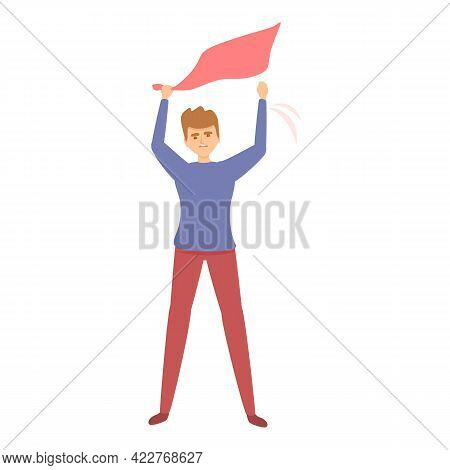 Red Flag Evacuation Icon. Cartoon Of Red Flag Evacuation Vector Icon For Web Design Isolated On Whit