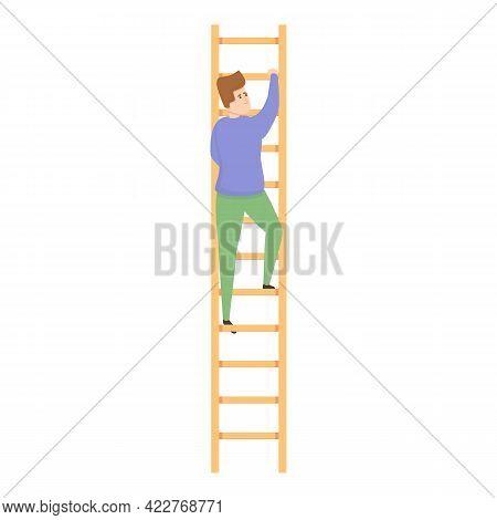 Ladder Evacuation Icon. Cartoon Of Ladder Evacuation Vector Icon For Web Design Isolated On White Ba