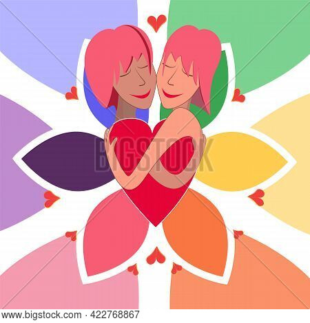 Lgbt Couple. Cute Young Girls With Pink Hair Hugging Each Other. Cartoon Character Of Young Gay Coup