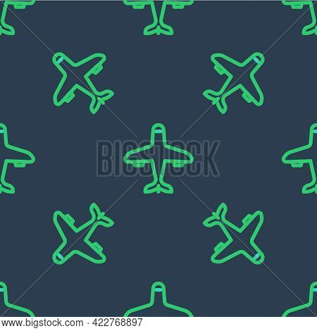 Line Plane Icon Isolated Seamless Pattern On Blue Background. Flying Airplane Icon. Airliner Sign. V