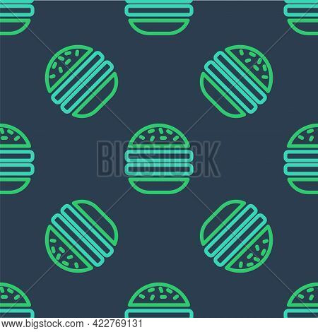 Line Burger Icon Isolated Seamless Pattern On Blue Background. Hamburger Icon. Cheeseburger Sandwich