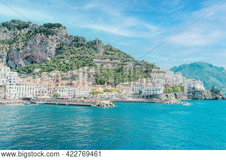 Amalfi Coast Is Most Popular Travel And Holiday Destination In Europe. Landscape With Amalfi Town At