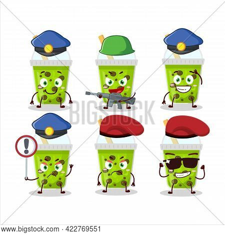 A Dedicated Police Officer Of Melon Milk With Boba Mascot Design Style