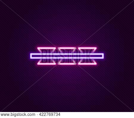 Glowing Neon Line Barbed Wire Icon Isolated On Black Background. Colorful Outline Concept. Vector