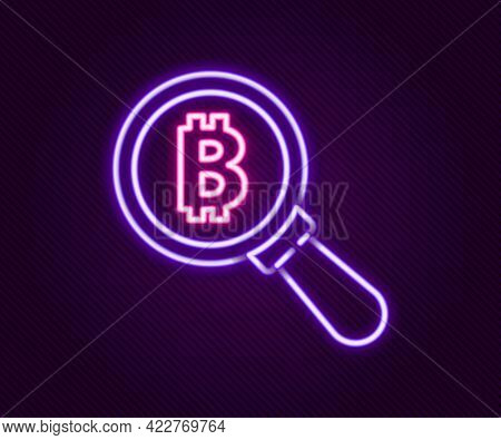 Glowing Neon Line Magnifying Glass With Bitcoin Icon Isolated On Black Background. Physical Bit Coin