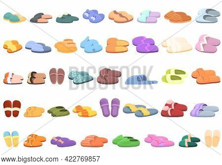Home Slippers Icons Set. Cartoon Set Of Home Slippers Vector Icons For Web Design