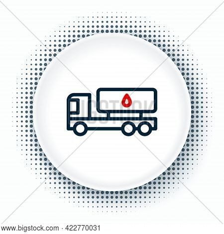 Line Tanker Truck Icon Isolated On White Background. Petroleum Tanker, Petrol Truck, Cistern, Oil Tr