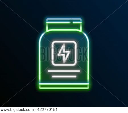Glowing Neon Line Sports Nutrition Bodybuilding Proteine Power Drink And Food Icon Isolated On Black