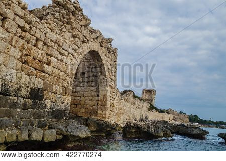 Seaside Walls Of Ancient Fortress Corycus, Former Important Port & Commercial Town On Mediterranean