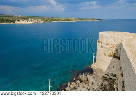 Panoramic View From Tower Of Fortress Kizkalesi As It Was In Medieval Times. There Are Walls, Tower
