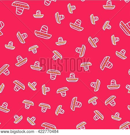 Line Traditional Mexican Sombrero Hat Icon Isolated Seamless Pattern On Red Background. Vector