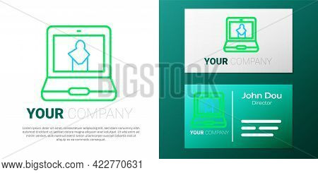 Line Online Museum Icon Isolated On White Background. Museum Gallery. Colorful Outline Concept. Vect