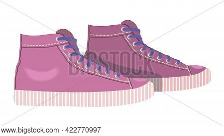 Women Sneakers Icon. Pink Sneakers Isolated On White Background. Sports Shoes, Shoes For Outdoor Act