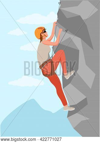 Climbers. Mountain Rock Climbers Healthy Active Lifestyle Activities. Young Male Climber In Protecti