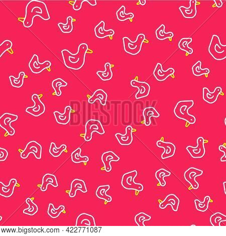 Line Rubber Duck Icon Isolated Seamless Pattern On Red Background. Vector