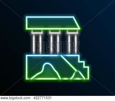 Glowing Neon Line Parthenon From Athens, Acropolis, Greece Icon Isolated On Black Background. Greek