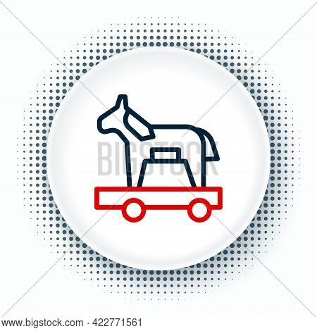 Line Trojan Horse Icon Isolated On White Background. Colorful Outline Concept. Vector