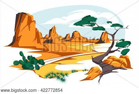 Desert Landscape With Rocks And Cactuses. Vector Flat Illustration Of Highway Turn In Arizona Or Mex