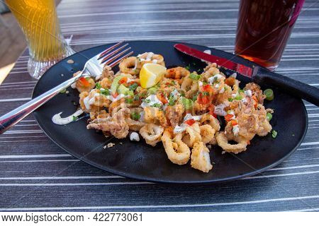 Very Appetizing Fried Squid Plate With Beer