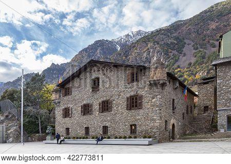 Andorra La Vella, Andorra, November 26 2019: The Casa De La Vall Is The Headquarters Of The General
