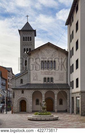 Les Escaldes, Andorra, November 26 2019: The Church Of San Pedro Martir, Is A Church Located Near Th