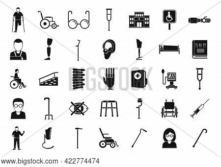 Handicapped Medicine Icons Set. Simple Set Of Handicapped Medicine Vector Icons For Web Design On Wh