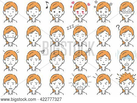 Businesswoman Vector Various Facial Expressions Set Isolated On A White Background. Easy To Use Clip
