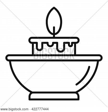Essential Oils Candle Icon. Outline Essential Oils Candle Vector Icon For Web Design Isolated On Whi