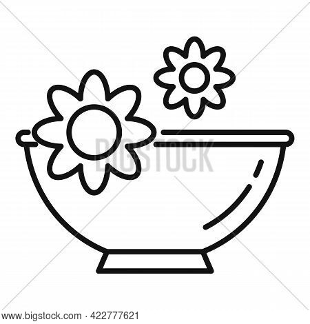 Essential Oils Flower Bowl Icon. Outline Essential Oils Flower Bowl Vector Icon For Web Design Isola