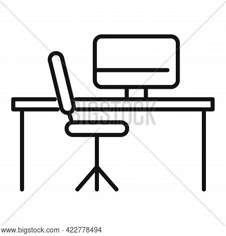 Home Office Furniture Icon. Outline Home Office Furniture Vector Icon For Web Design Isolated On Whi