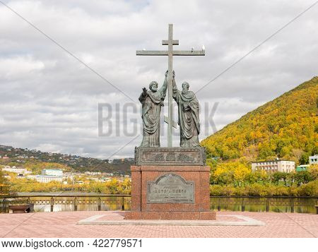 Kamchatka Peninsula, Russia - October 1, 2018: Bronze Monument Depicting The Apostles Peter And Paul