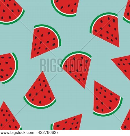 Watermelon Pattern On Blue Background. Baby Background For Fabric Textile. Food Summer Backdrop In F