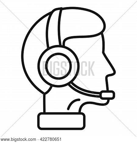 Man Podcast Icon. Outline Man Podcast Vector Icon For Web Design Isolated On White Background