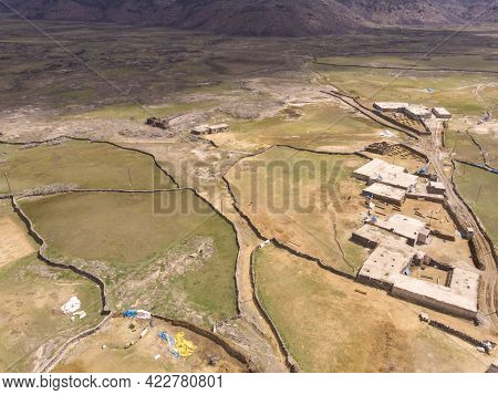 Aerial View On Anatolian Village With Clay Roofs At Foothill Of Mount Ararat In Eastern Anatolia, Tu