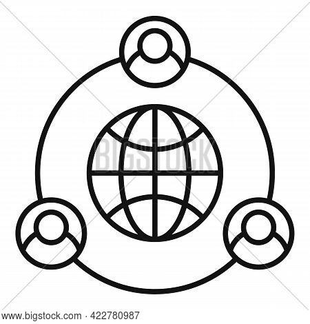 Outsource Global Way Icon. Outline Outsource Global Way Vector Icon For Web Design Isolated On White