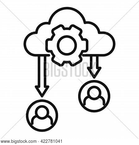 Outsource Data Cloud Icon. Outline Outsource Data Cloud Vector Icon For Web Design Isolated On White