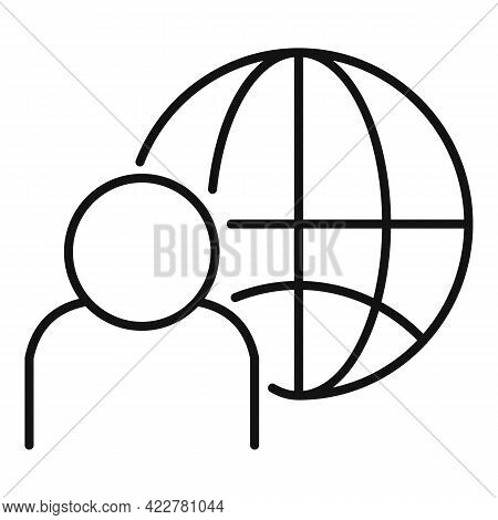 Outsource Global Icon. Outline Outsource Global Vector Icon For Web Design Isolated On White Backgro