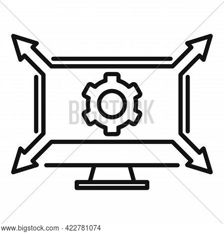 Outsource Monitor Icon. Outline Outsource Monitor Vector Icon For Web Design Isolated On White Backg