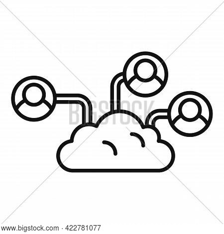 Outsource Cloud Elements Icon. Outline Outsource Cloud Elements Vector Icon For Web Design Isolated
