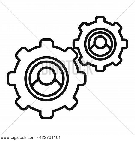 Outsource Smart Gear Icon. Outline Outsource Smart Gear Vector Icon For Web Design Isolated On White