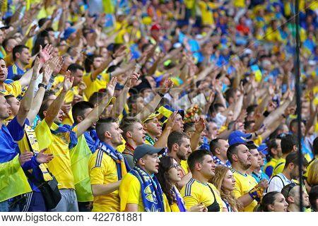 Lyon, France - June 16, 2016: Ukrainian Fans Show Their Support During The Uefa Euro 2016 Game Ukrai