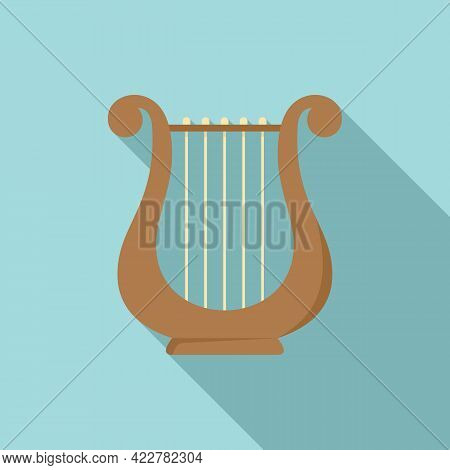 Harp Melody Icon. Flat Illustration Of Harp Melody Vector Icon For Web Design