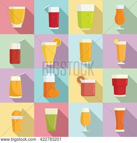Fresh Juice Icons Set. Flat Set Of Fresh Juice Vector Icons For Web Design