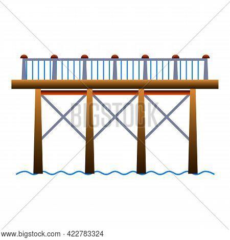High Bridge Icon. Cartoon Of High Bridge Vector Icon For Web Design Isolated On White Background