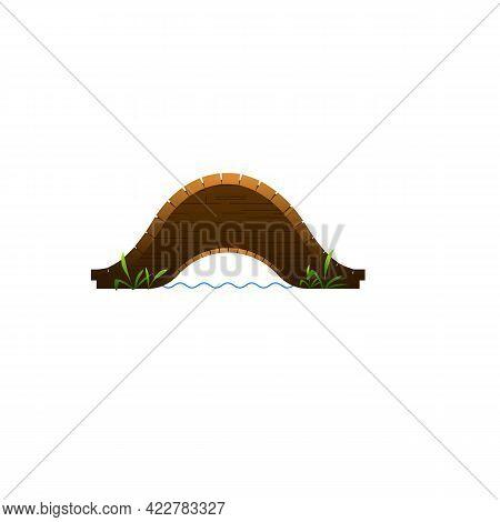 Wood Valley Bridge Icon. Cartoon Of Wood Valley Bridge Vector Icon For Web Design Isolated On White
