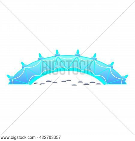 Blue Bridge Icon. Cartoon Of Blue Bridge Vector Icon For Web Design Isolated On White Background
