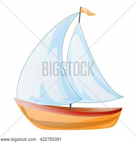 Boat Yacht Icon. Cartoon Of Boat Yacht Vector Icon For Web Design Isolated On White Background
