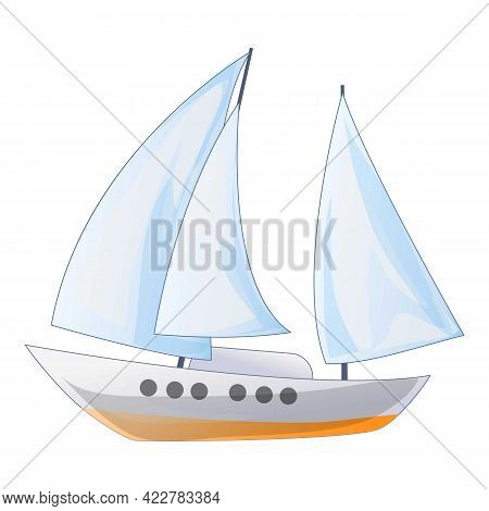 Ship Yacht Icon. Cartoon Of Ship Yacht Vector Icon For Web Design Isolated On White Background