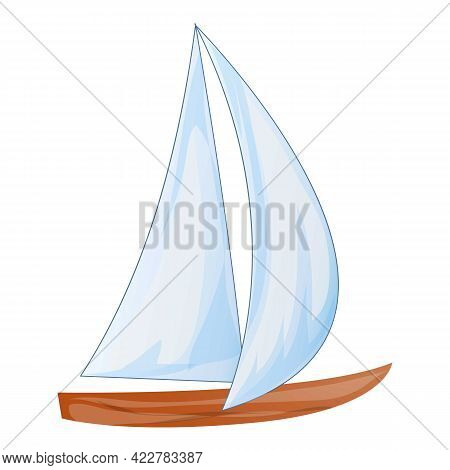 Cruise Yacht Icon. Cartoon Of Cruise Yacht Vector Icon For Web Design Isolated On White Background