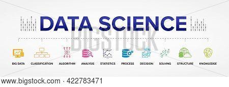 Data Science Concept Vector Icons: Big Data, Classification, Analysis, Statistics, Decision, Structu